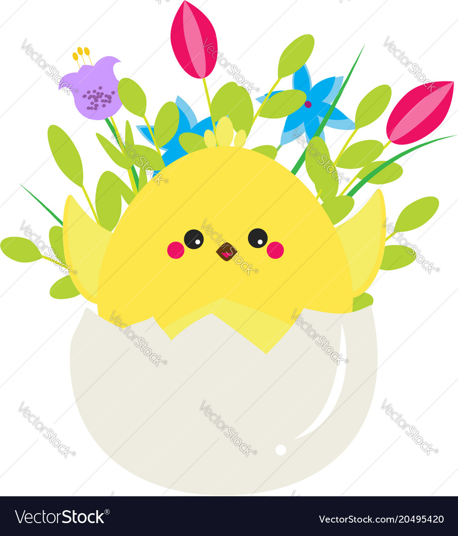 Cute cartoon rooster chicken sitting in egg with