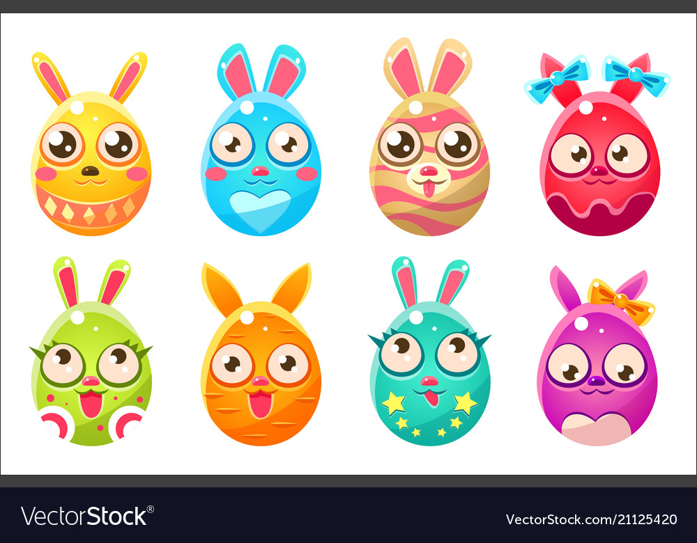 Easter bunny in shape an egg in different vector