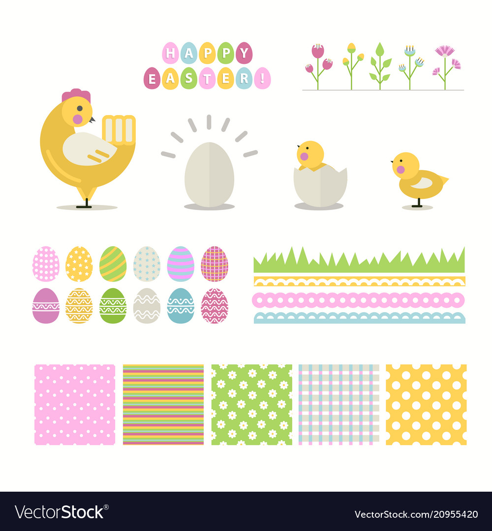 Easter set isolated on a white background