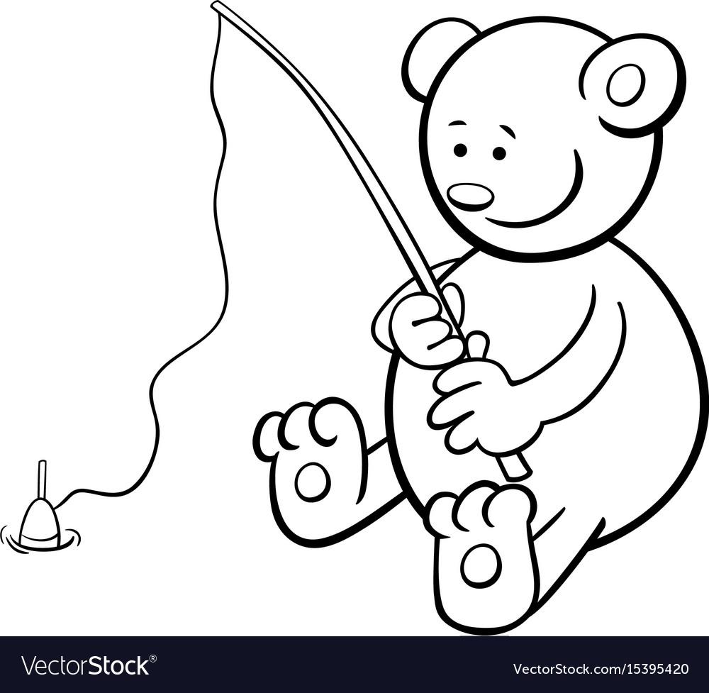 Fishing bear coloring book Royalty Free Vector Image