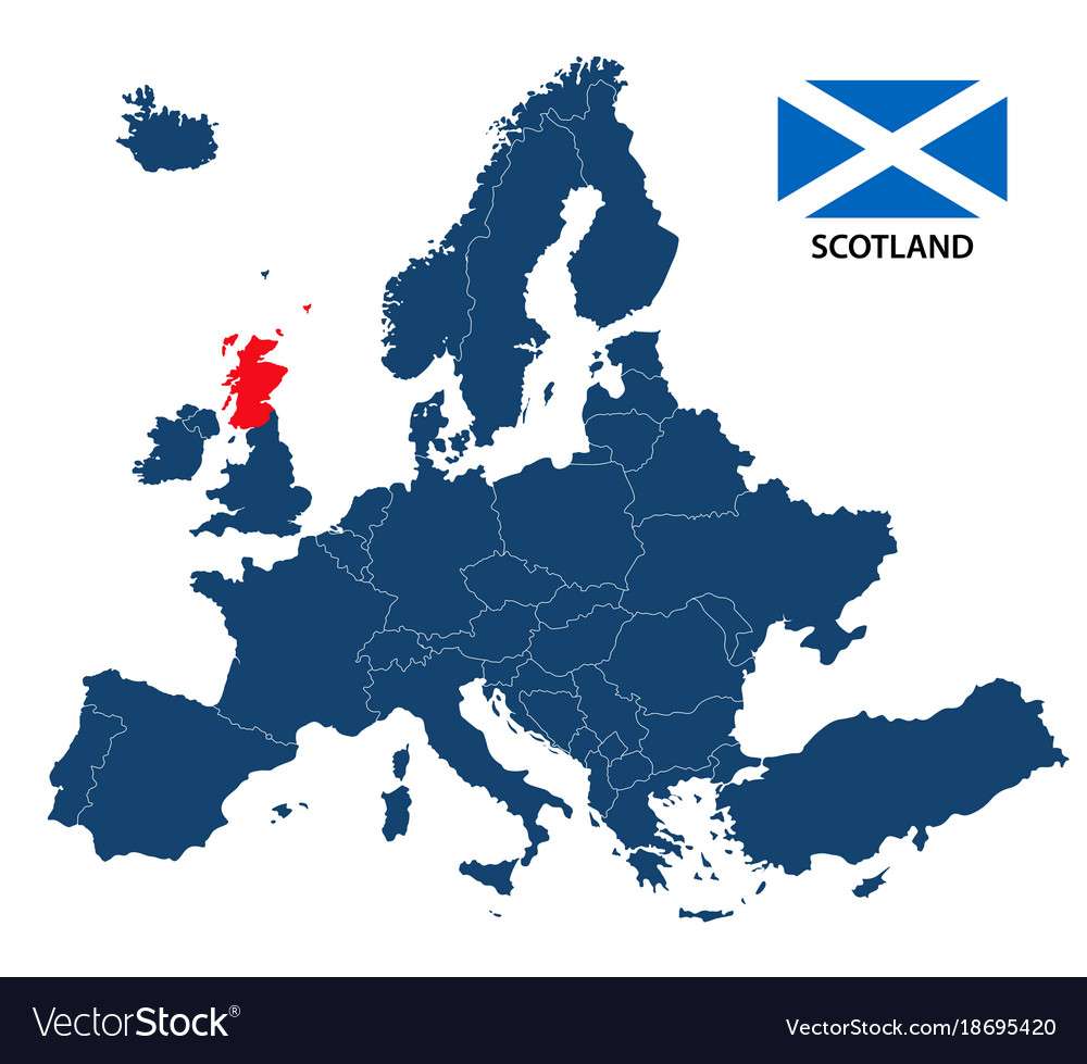 Map of europe with highlighted scotland Royalty Free Vector