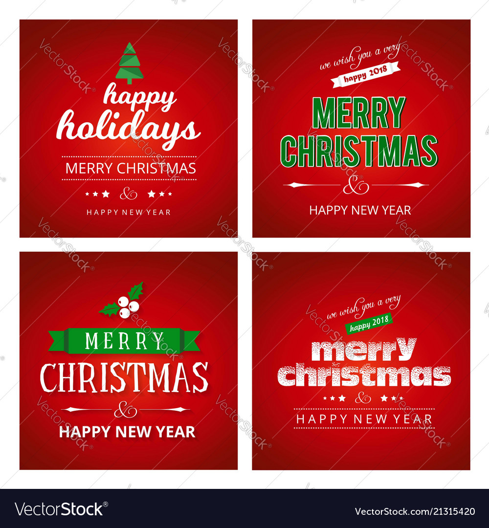 Red christmas card sets Royalty Free Vector Image