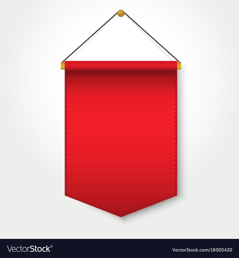red pennant template hanging on wall royalty free vector