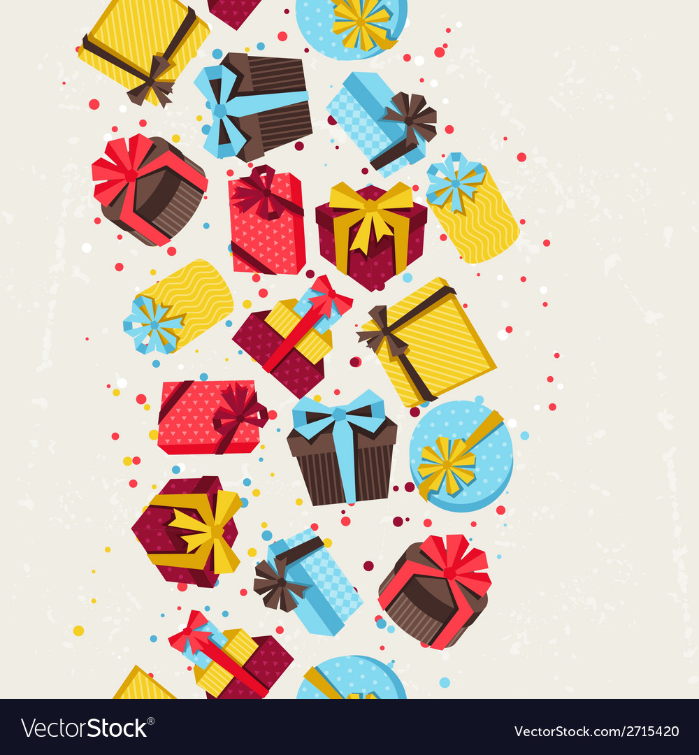 Seamless celebration pattern with colorful gift