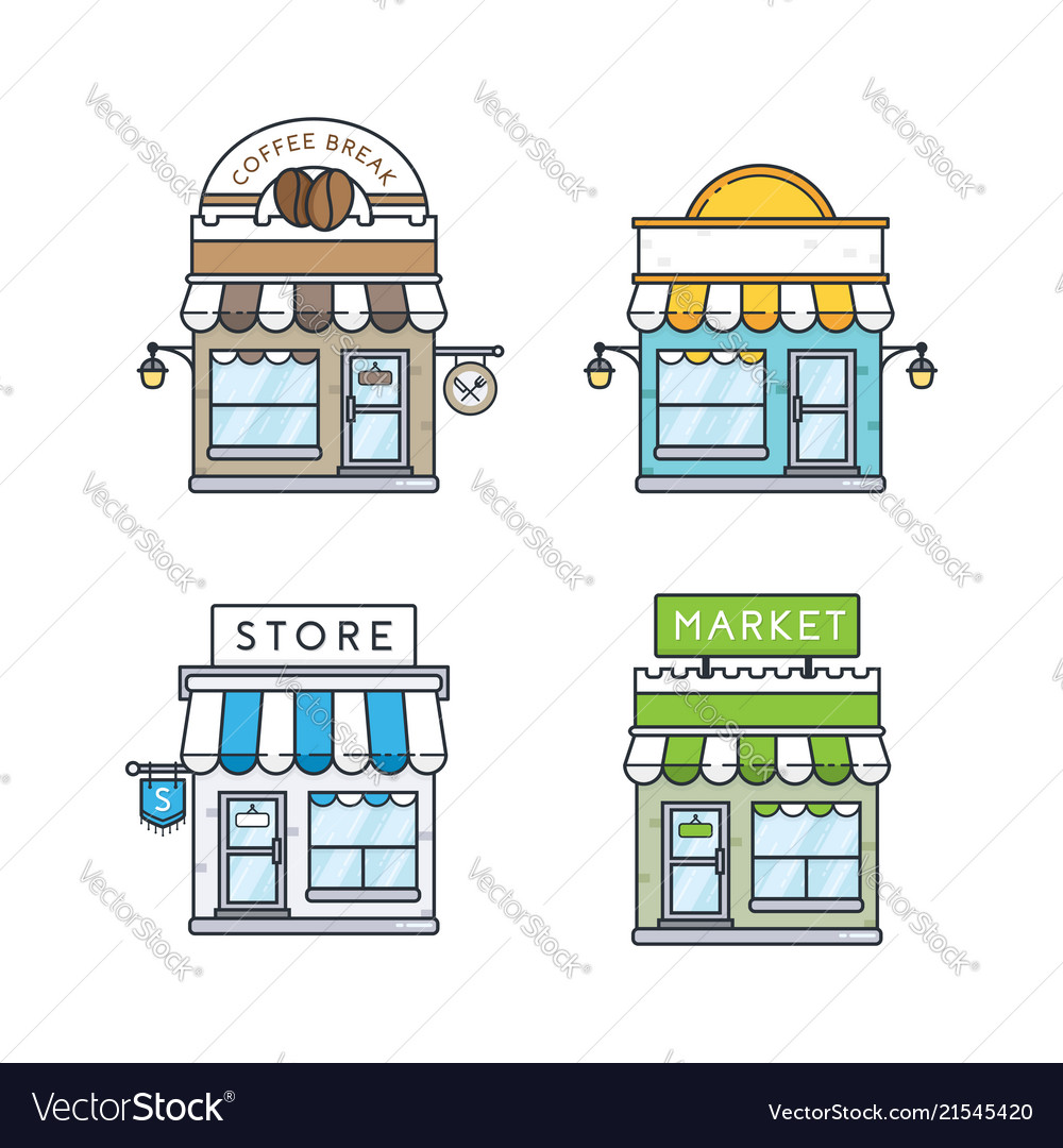 Set of store buildings