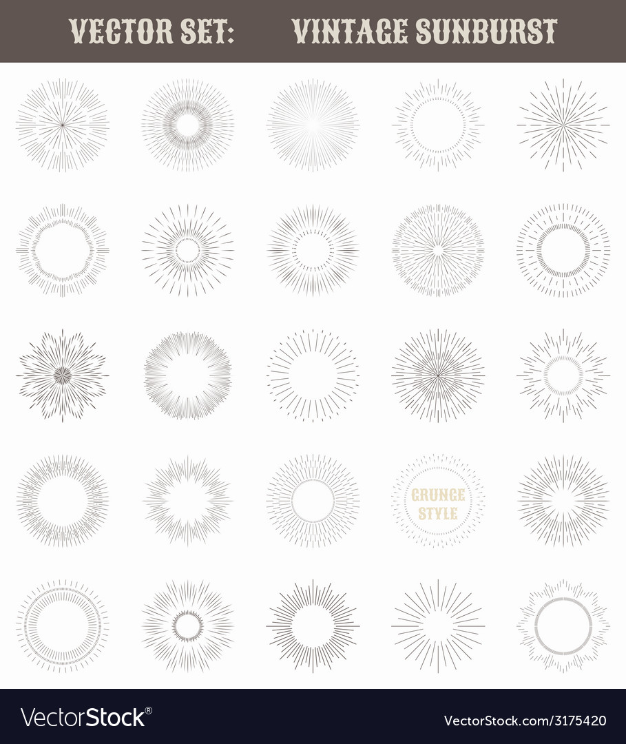 Set of vintage sunburst Geometric shapes and light