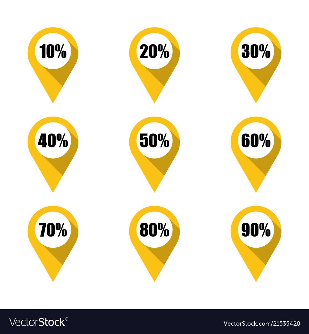 set of yellow map pins with different percentage vector image