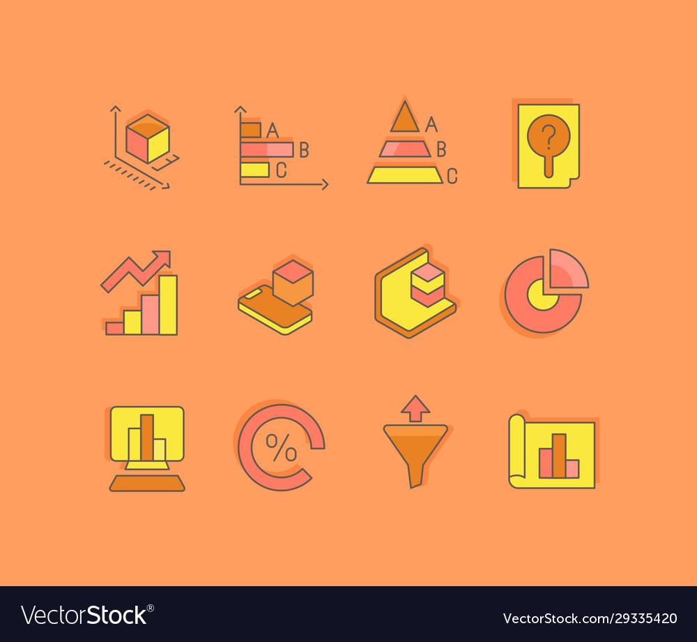 Set simple line icons web analytics