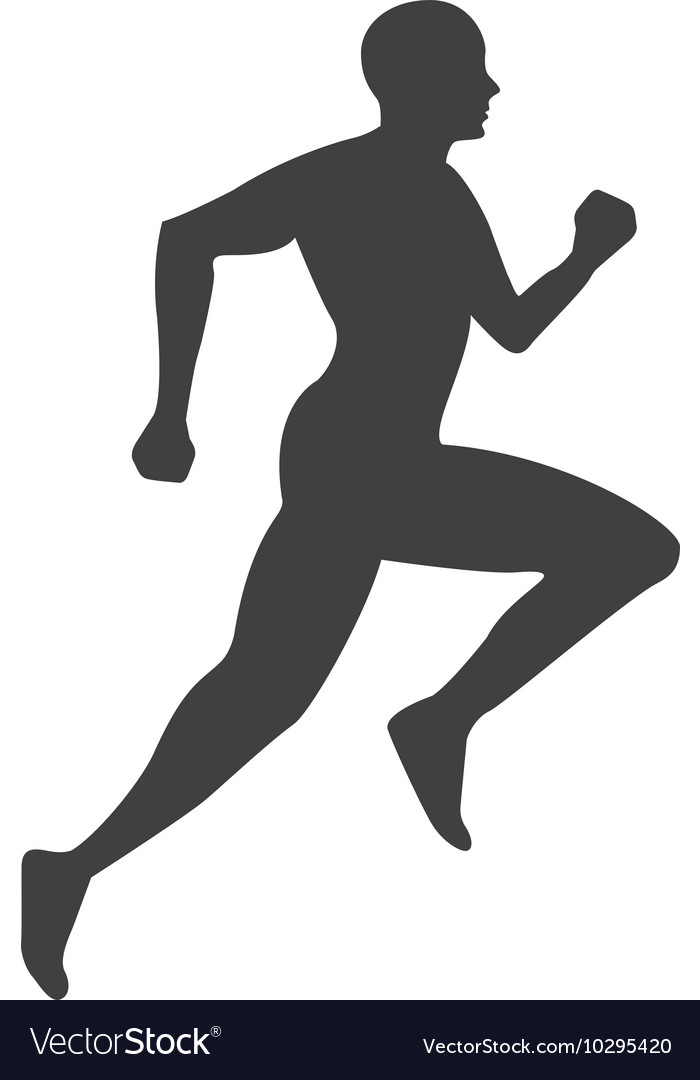 silhouette athlete running isolated icon vector image  vectorstock