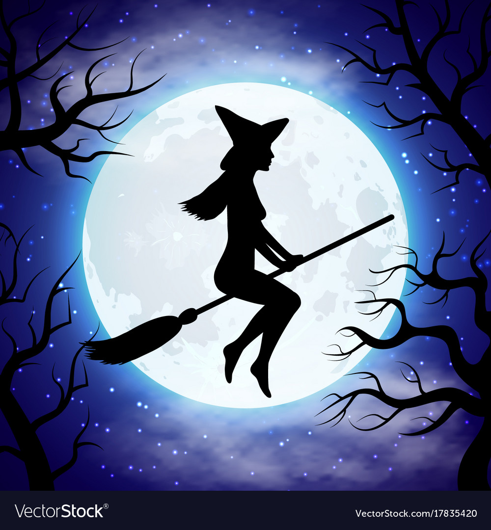 Silhouette of witch flying on the broom in