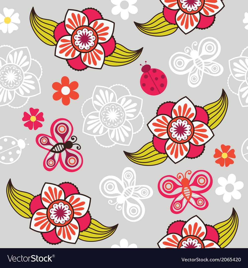 Spring seamless pattern with flowers and ladybirds