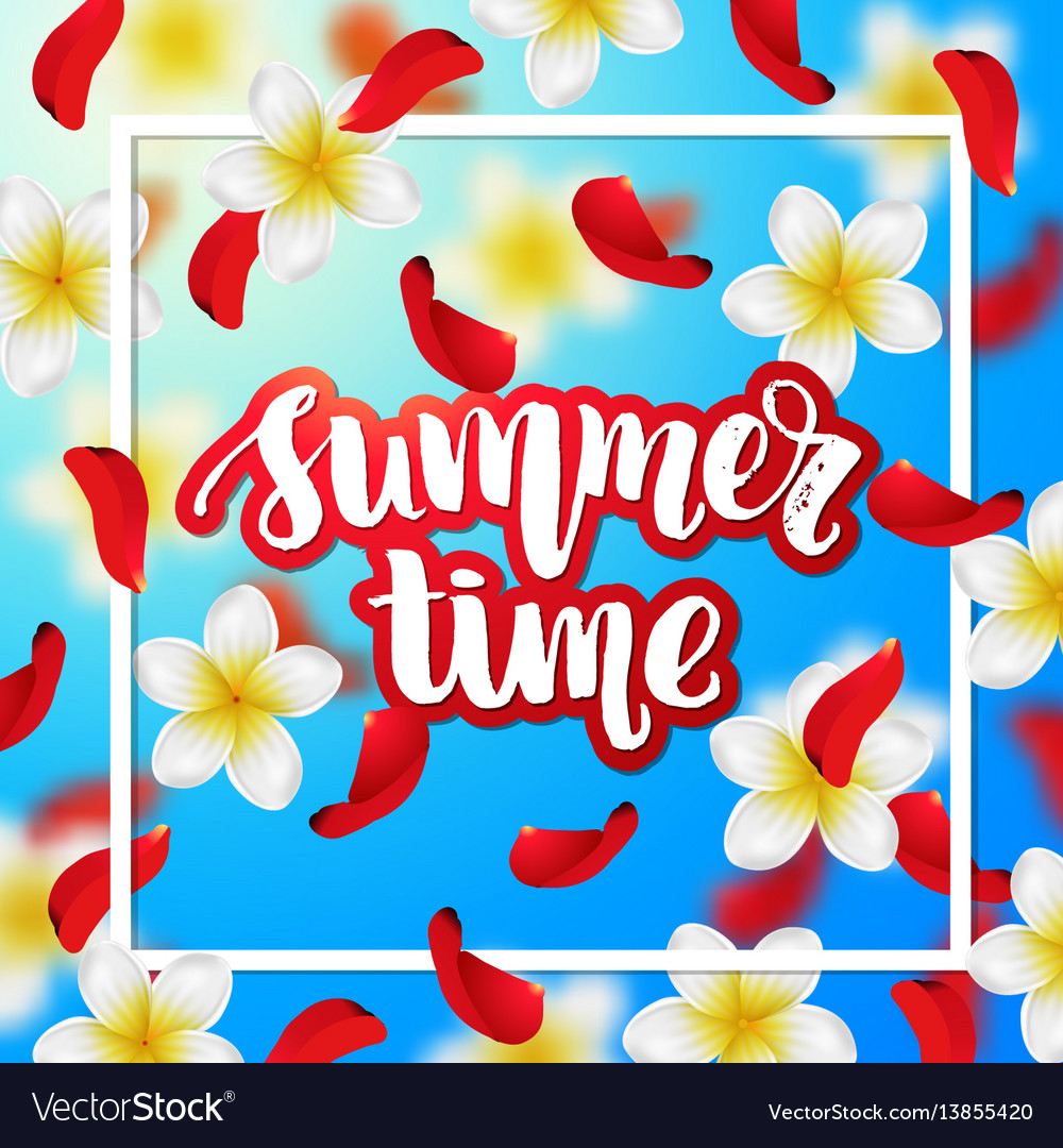 Summer or spring background with tropical flowers