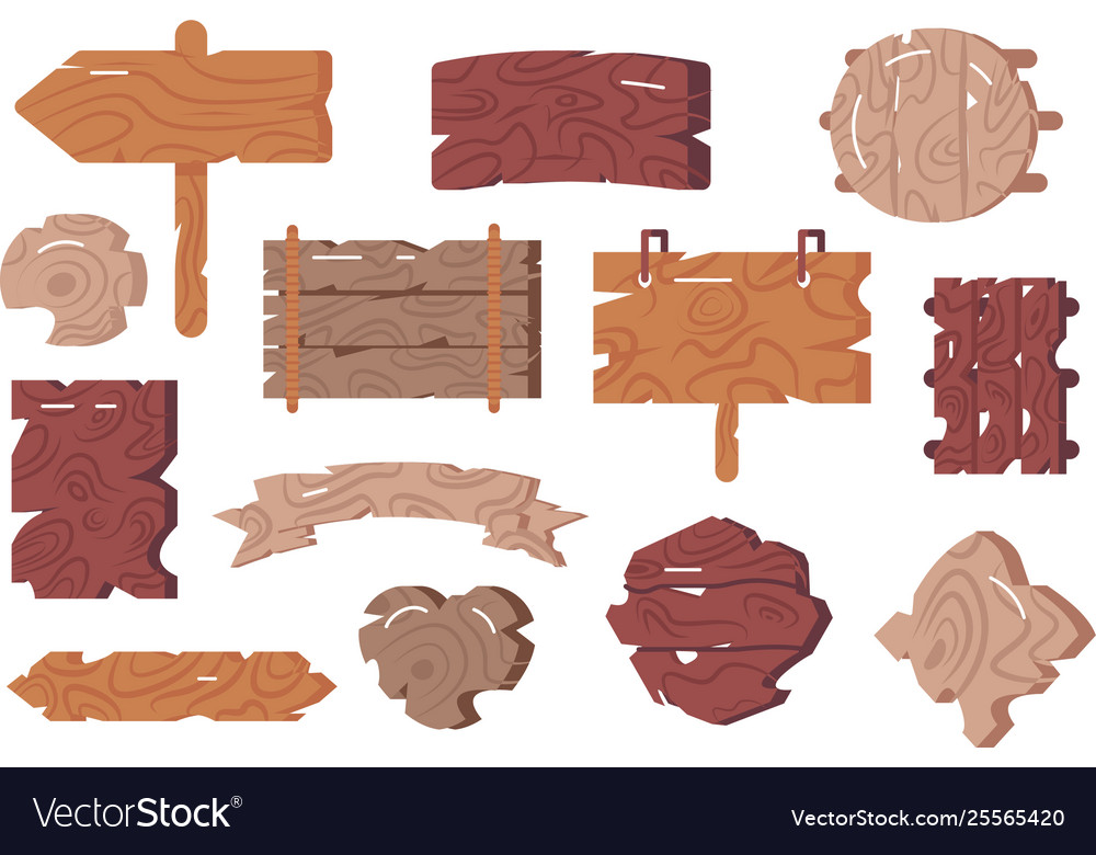Wooden signs set