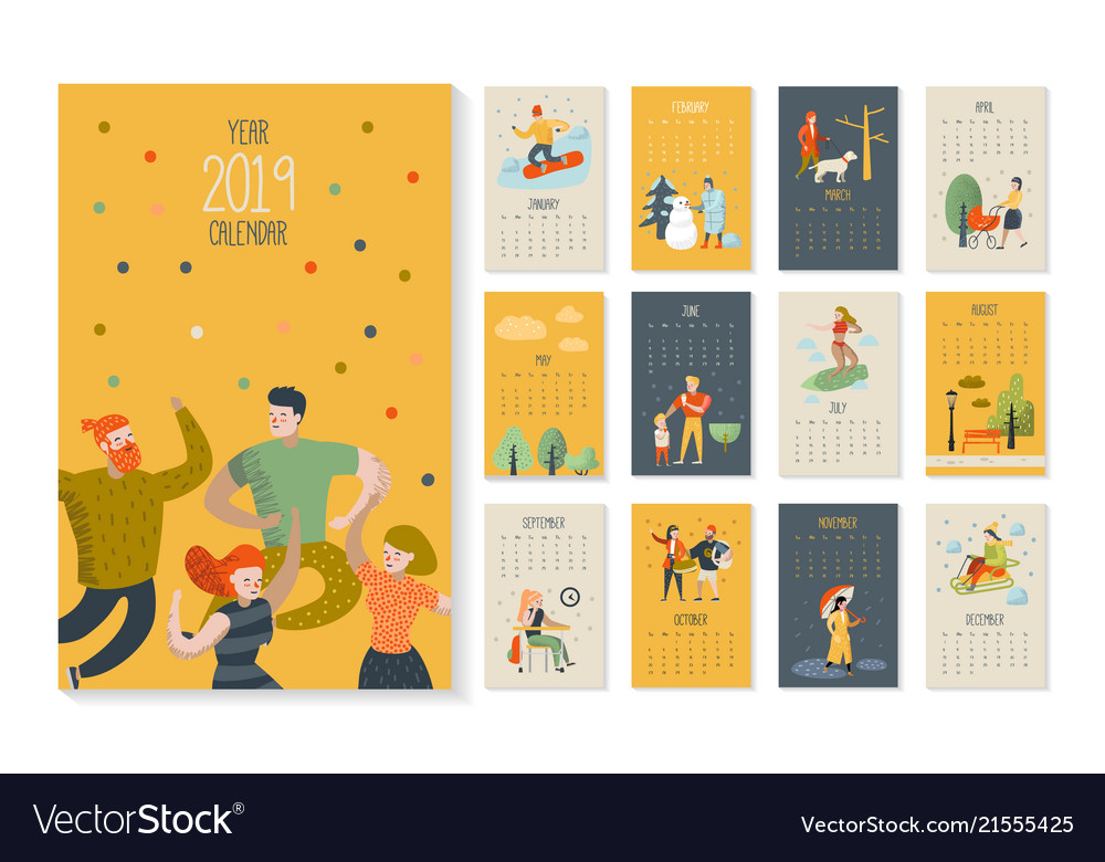 2019 year monthly calendar with flat characters