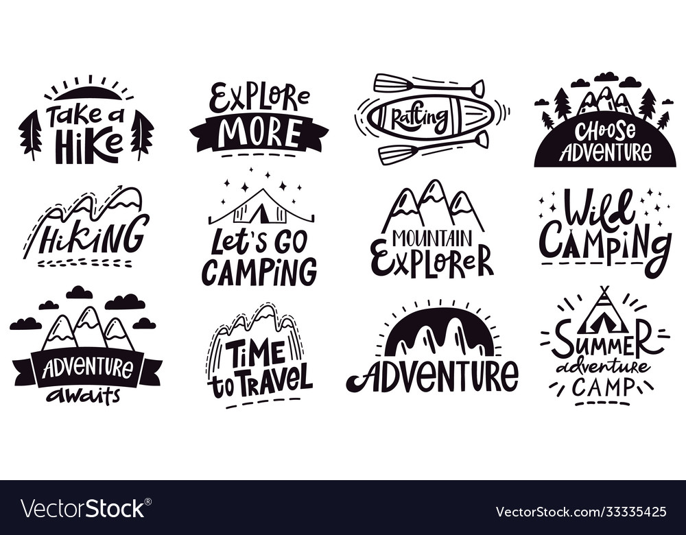 Adventure quote lettering outdoor camping