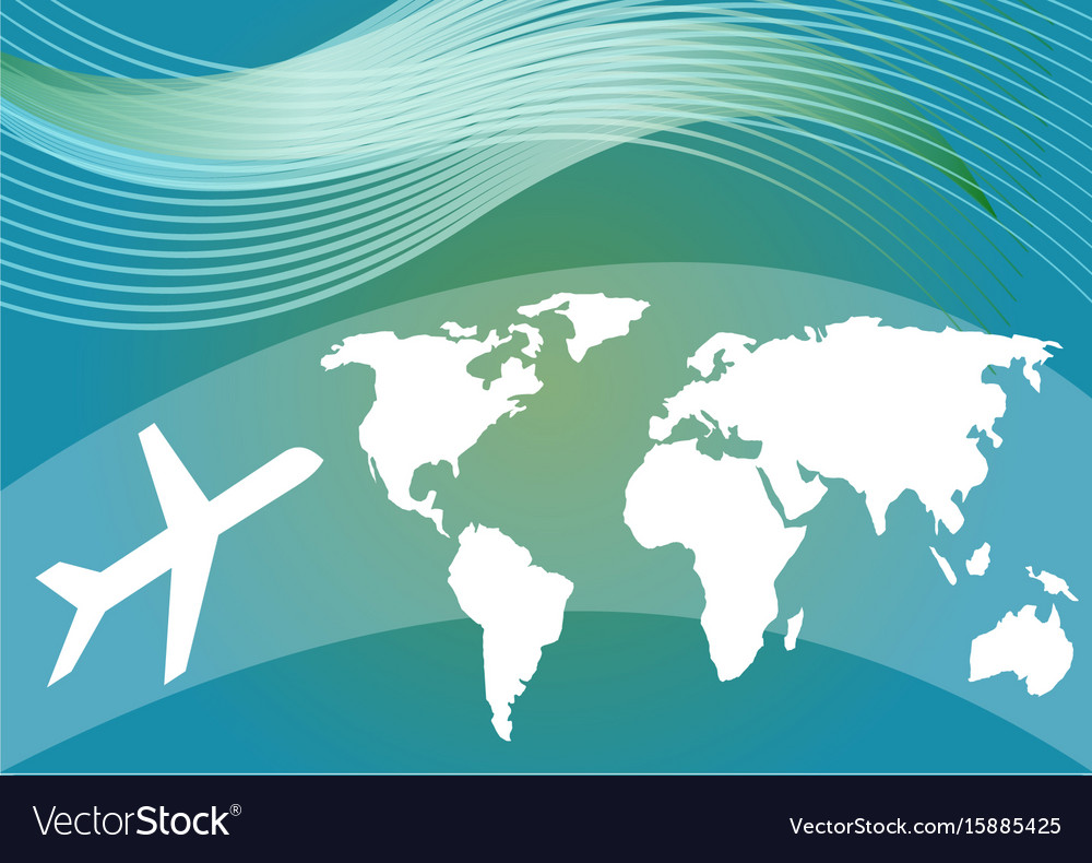 Air travelling background with stylized world map vector image gumiabroncs Image collections