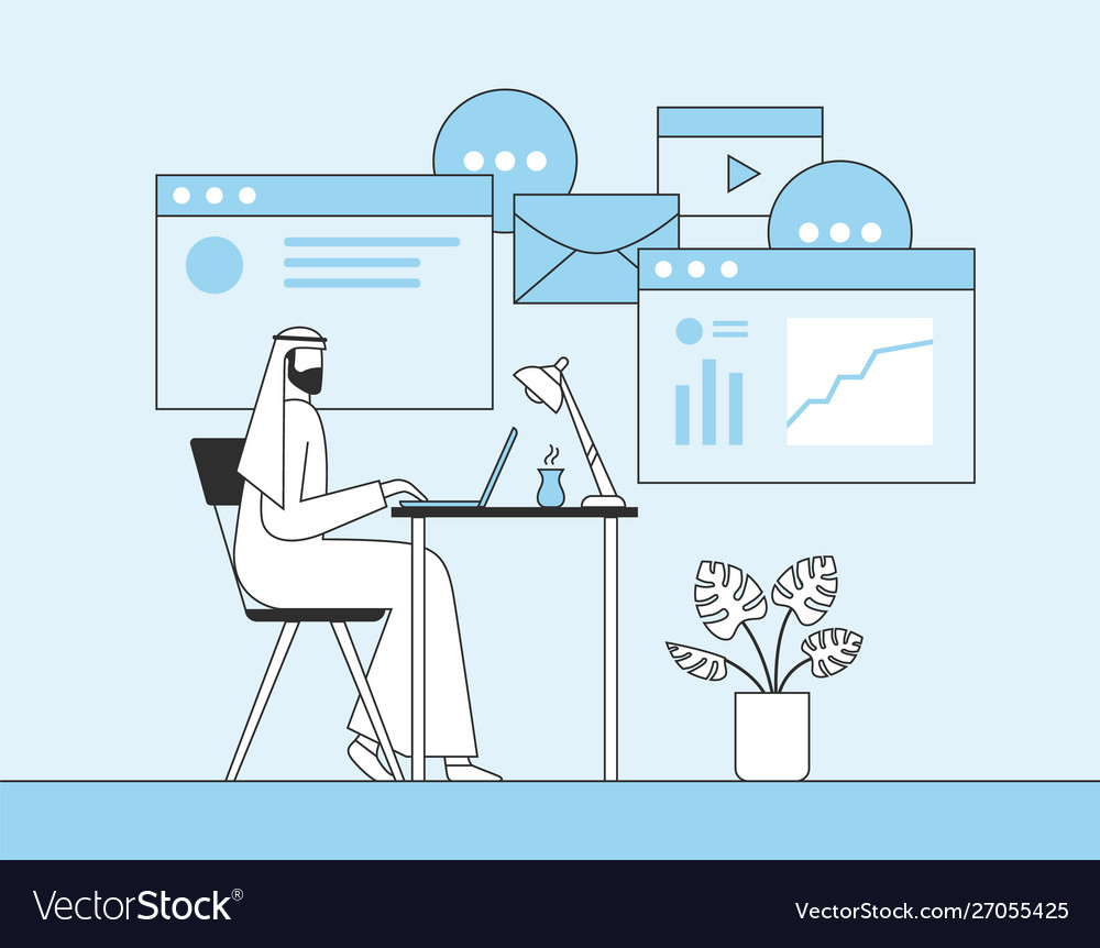 Arab businessman working with laptop in office