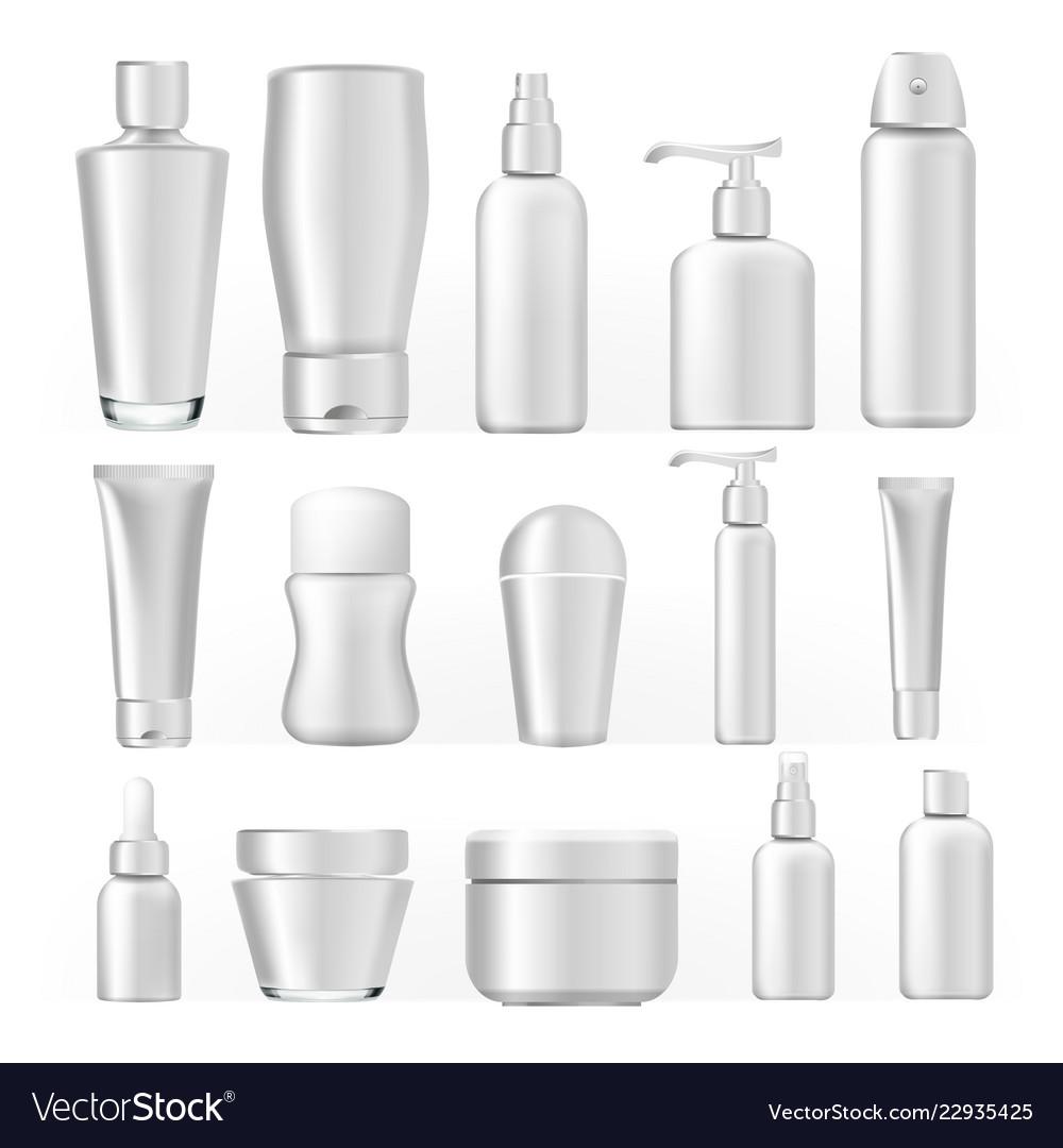 Cosmetic bottles set empty plastic white