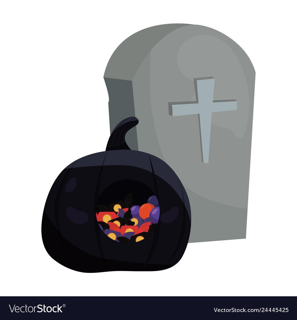 Halloween gravestone and black pumpkin candies