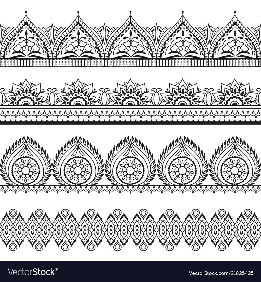 Mehndi seamless borders henna oriental patterns