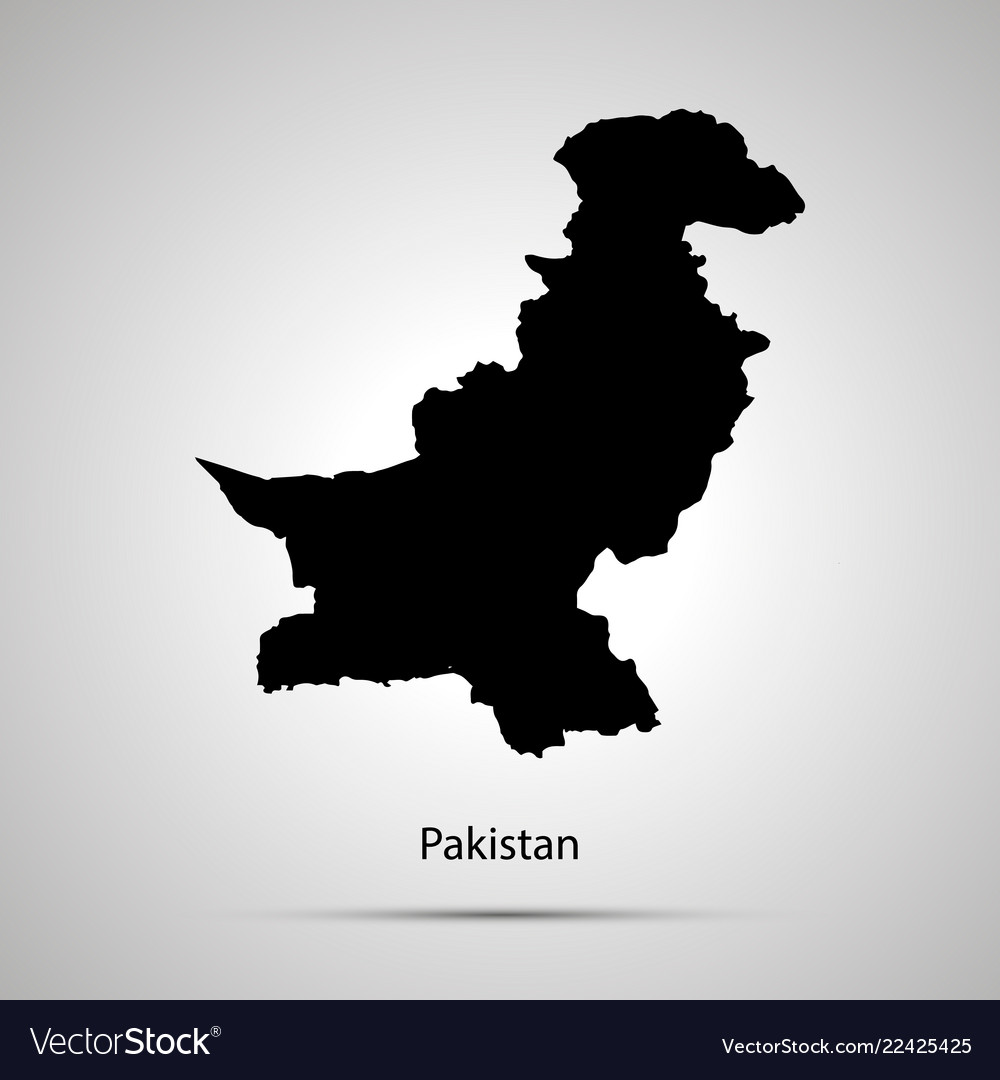 Pakistan country map simple black silhouette