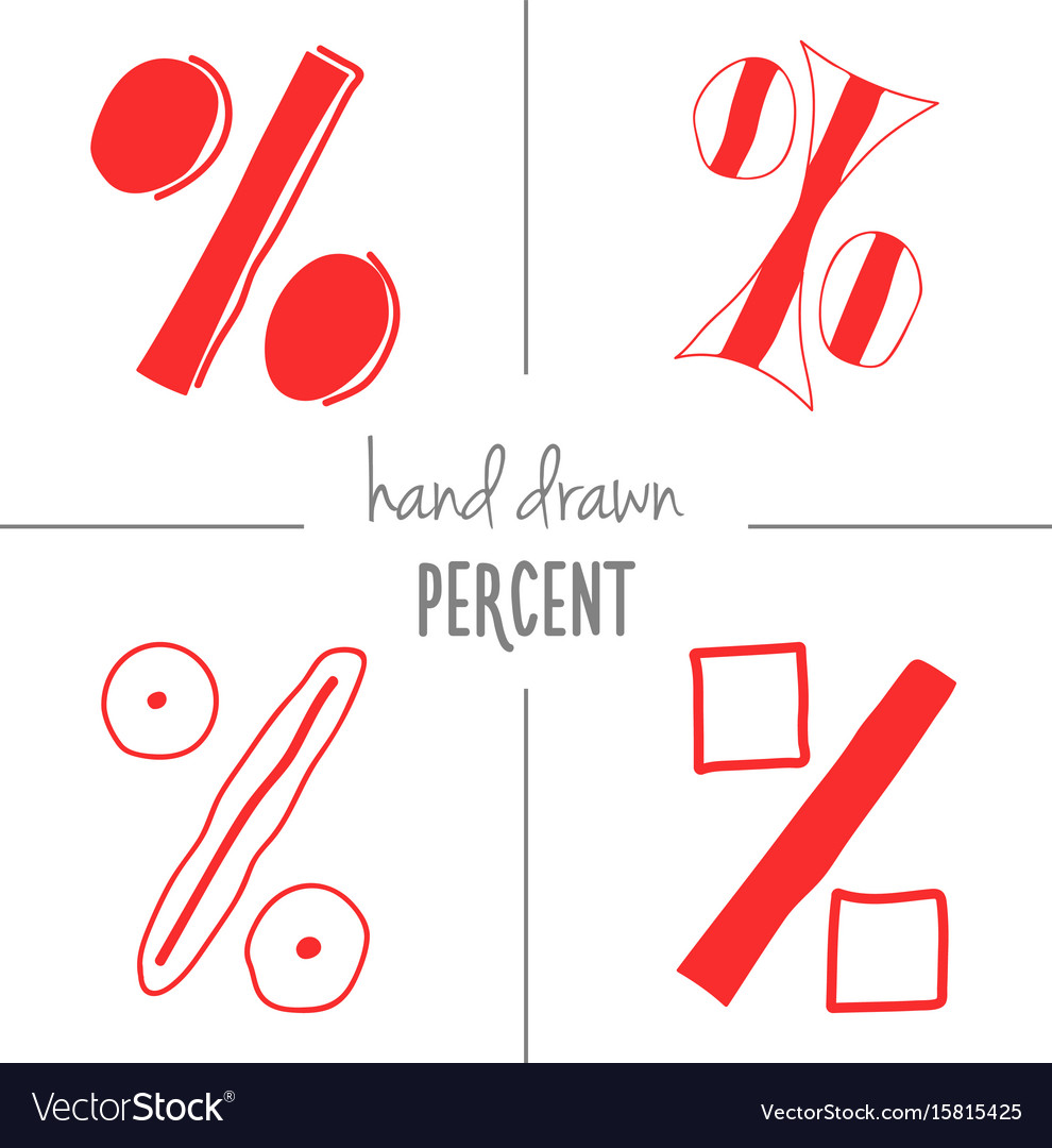 Set of red hand drawn percent signs