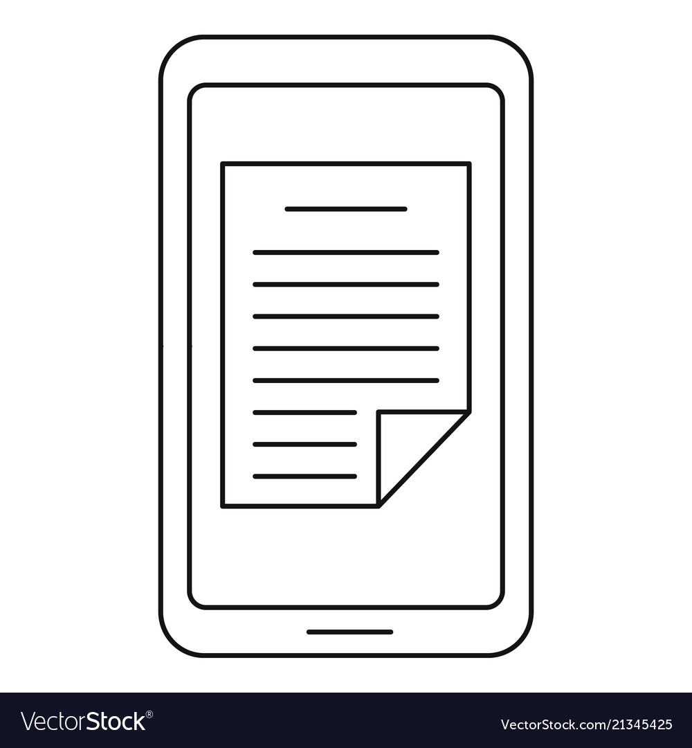 Smartphone document icon outline style