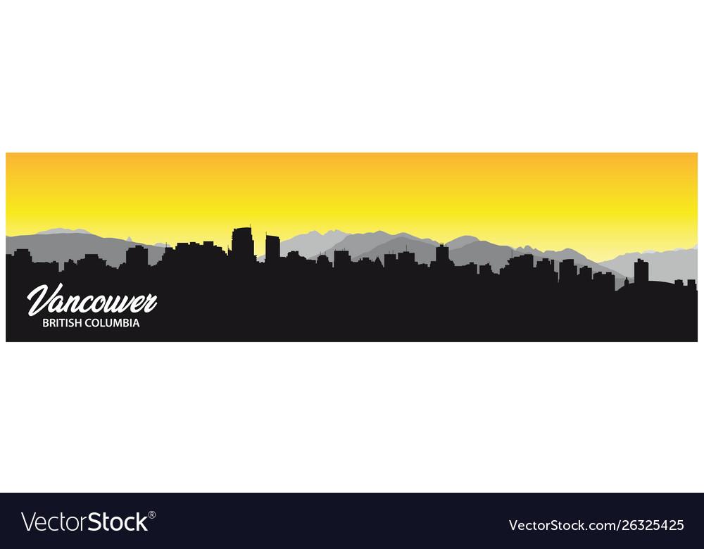 Vancouver british columbia skyline silhouette