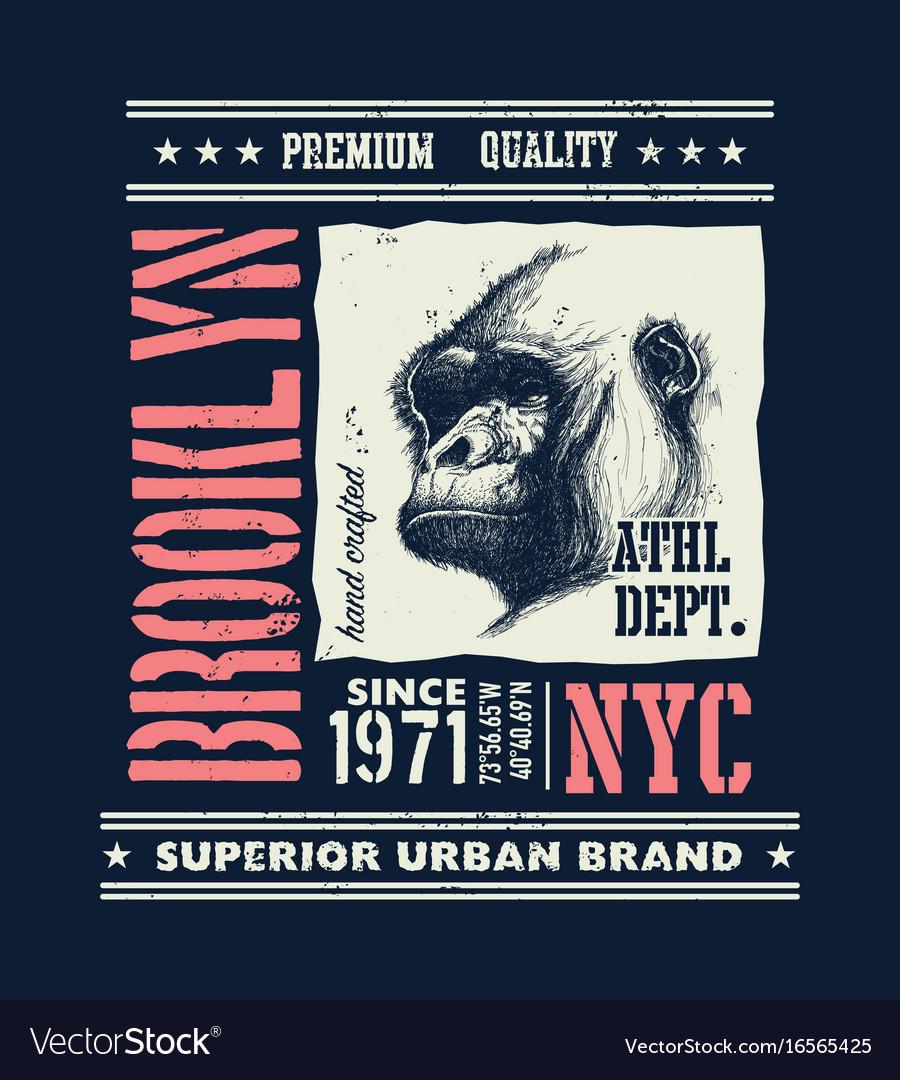 Vintage urban typography with gorilla head