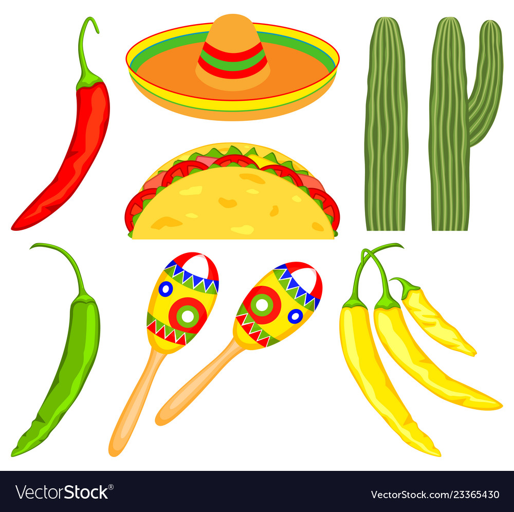 8 colorful cartoon mexican elements