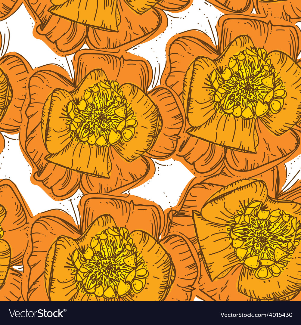 Abstract elegance seamless pattern orange flowers vector