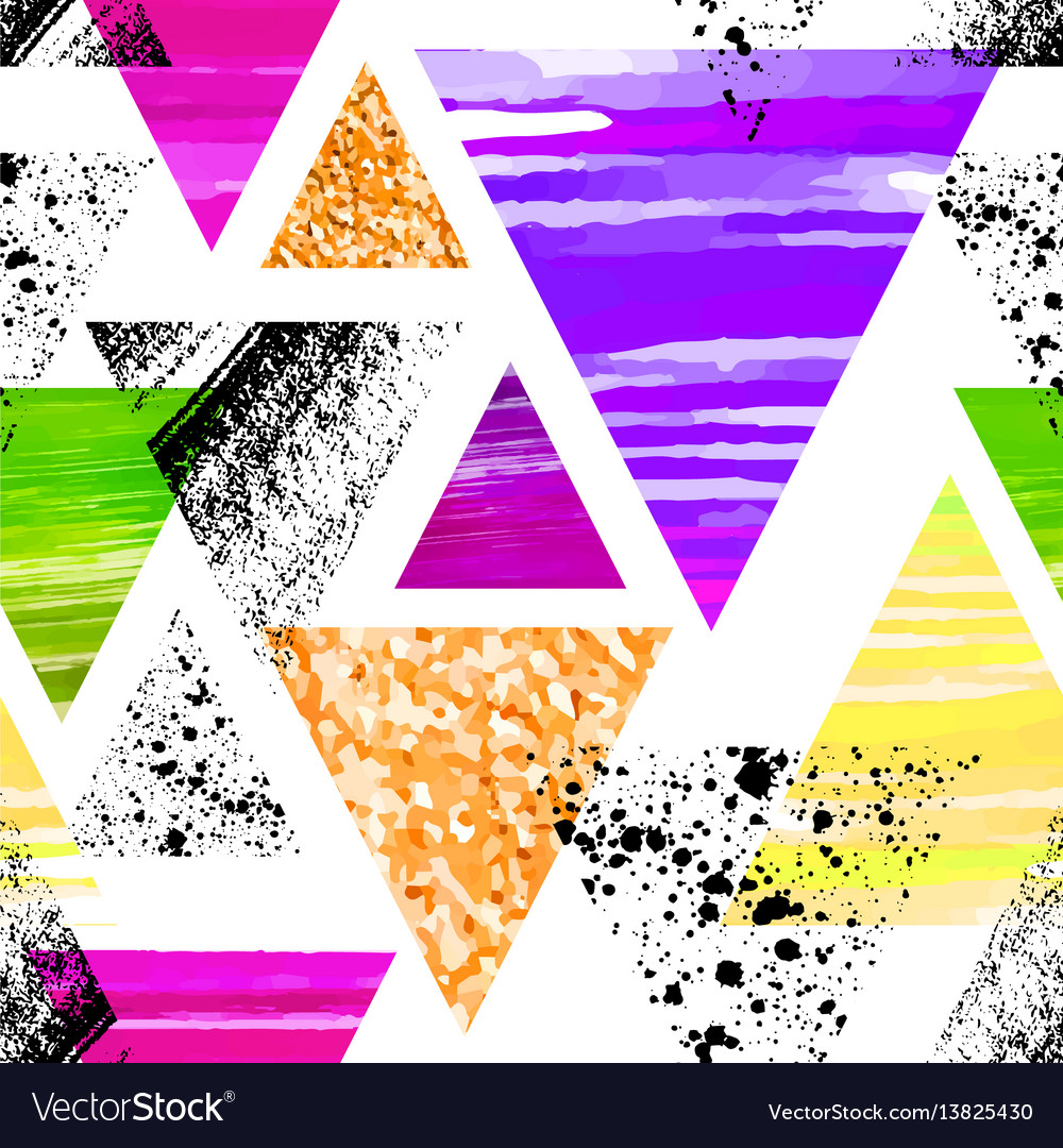Abstract watercolor triangle seamless pattern