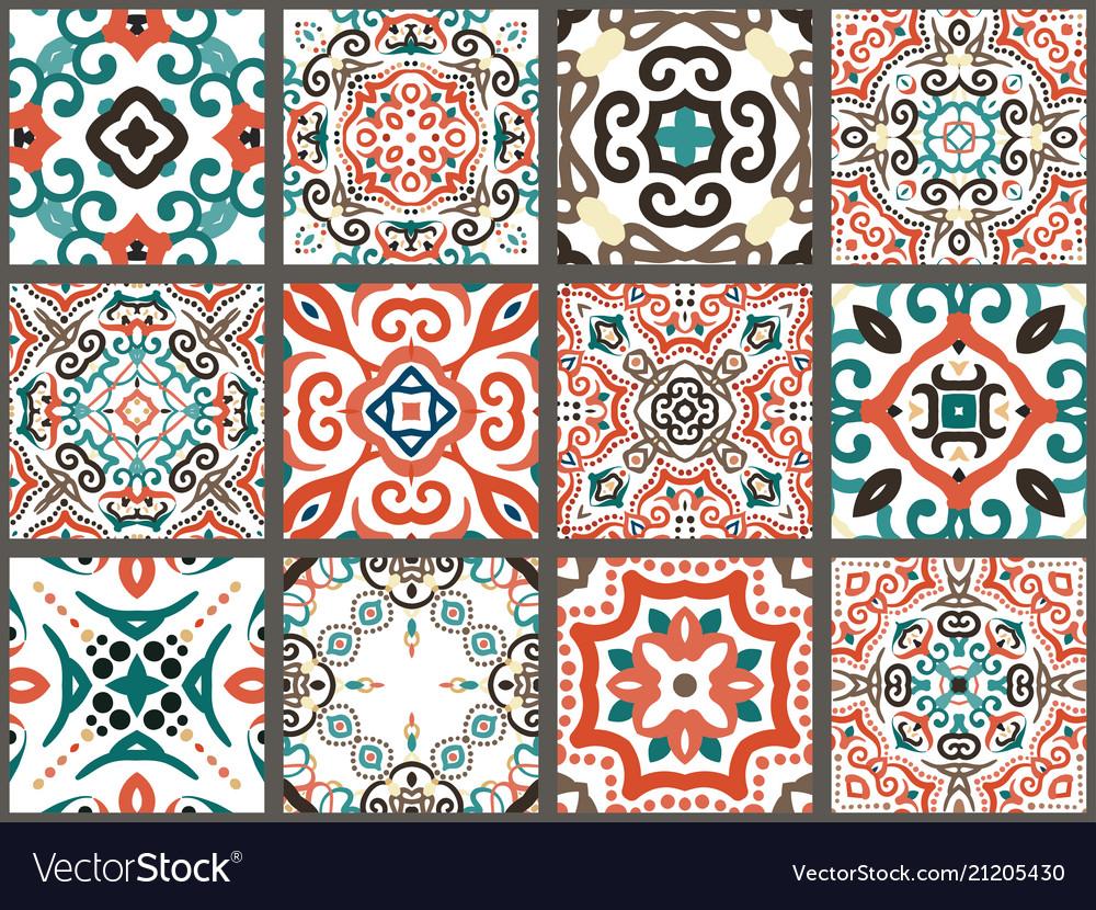 Arabic Decorative Tiles Vector Image