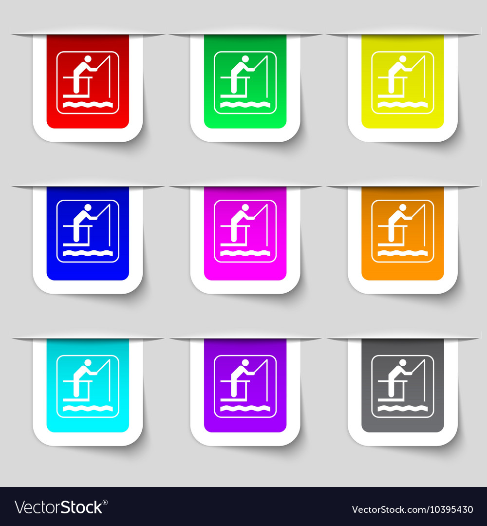 Fishing icon sign Set of multicolored modern