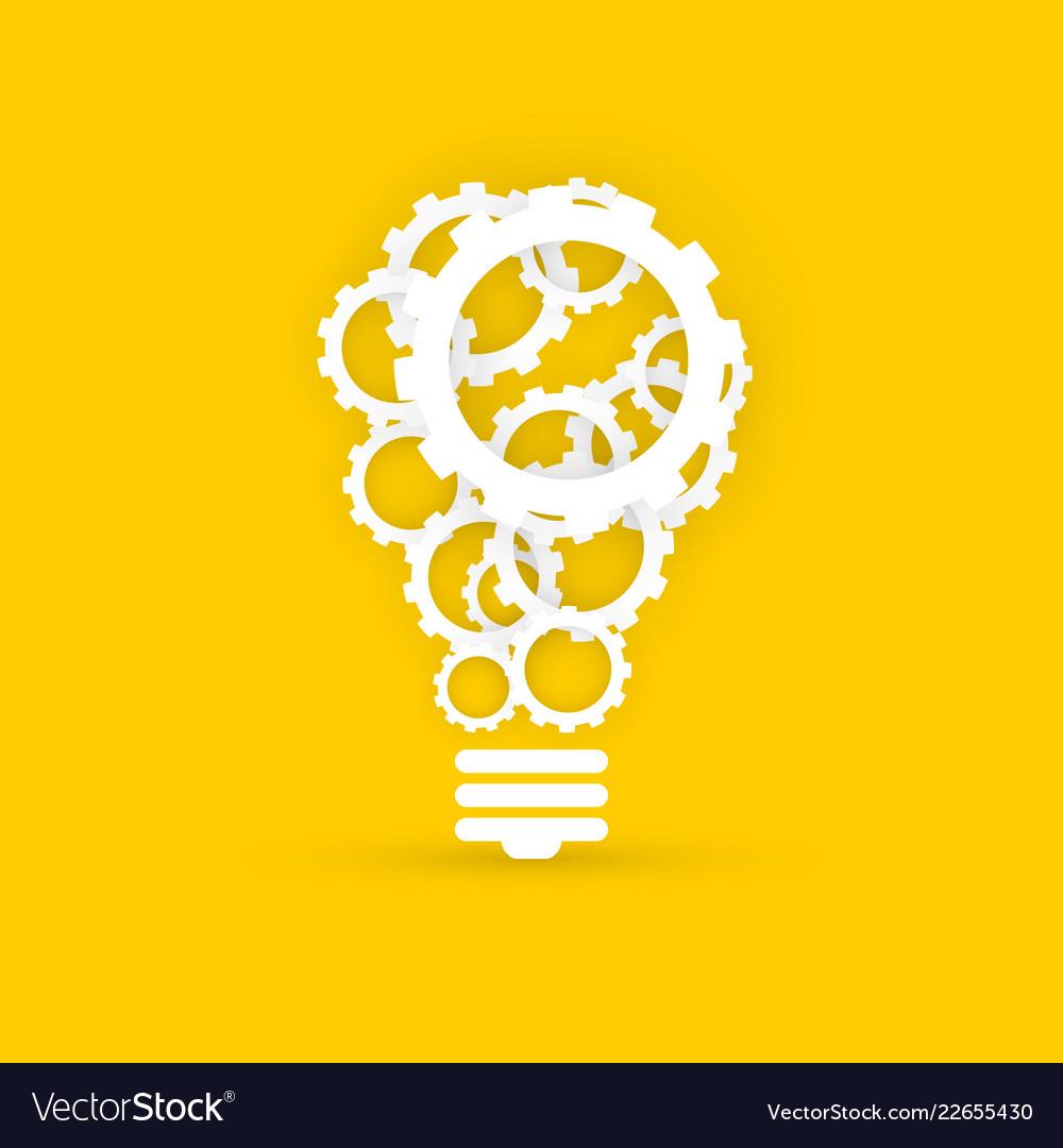 Gears light bulb creative technology concept on