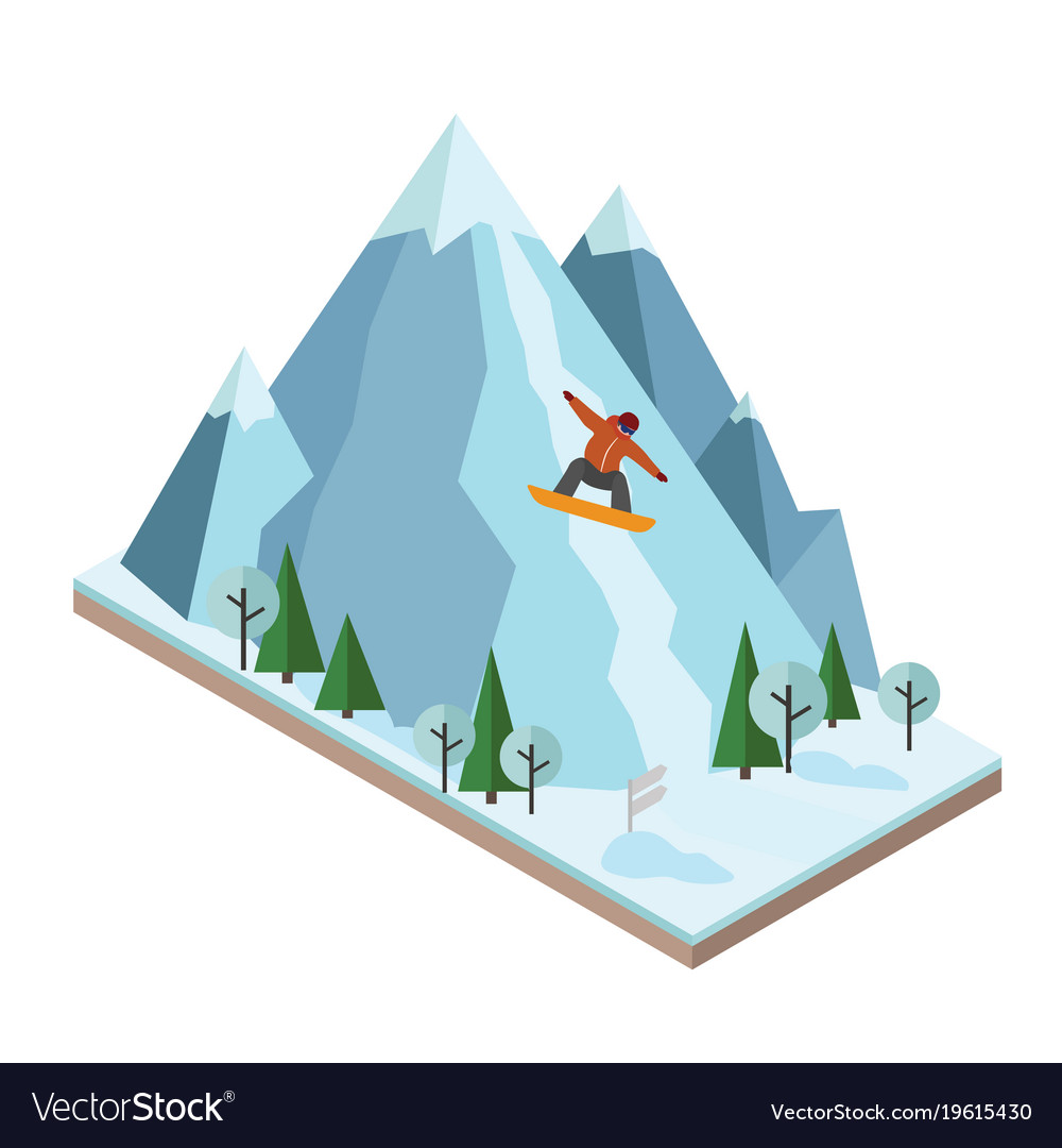 Isometric man pulls off the mountain