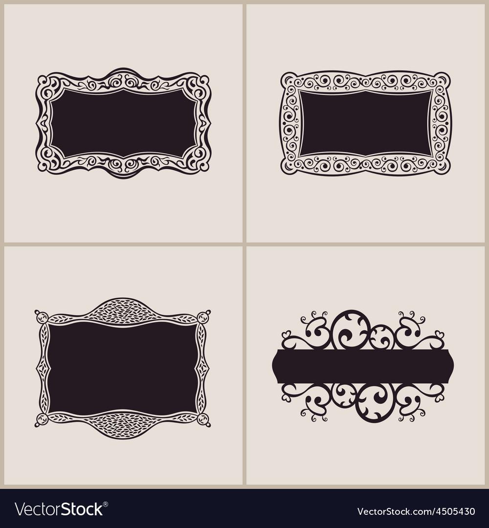 label frames elegant border set floral banner vector image