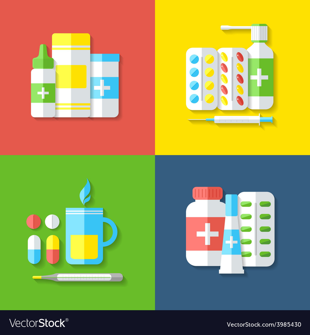 Medicines isolated objects vector image