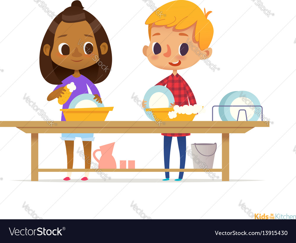 Two happy multiracial kids washing dishes isolated