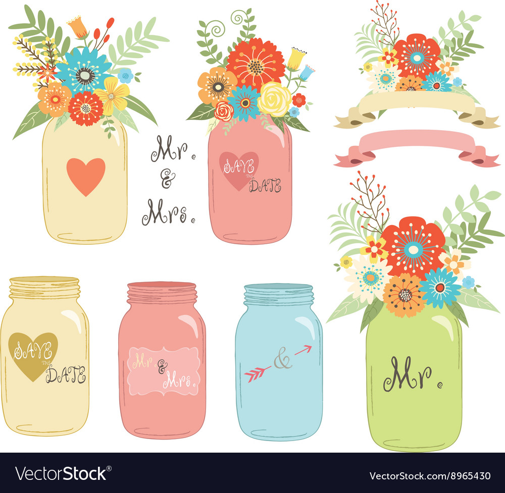 Wedding flower Mason Jar