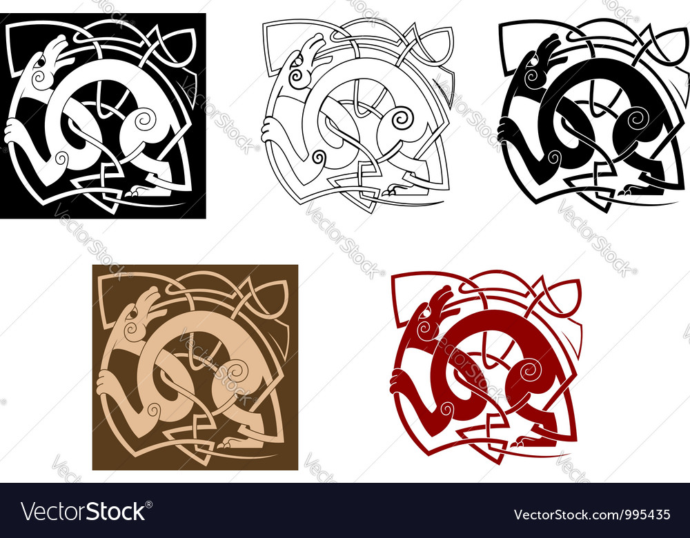 Celtic dog with knots vector image