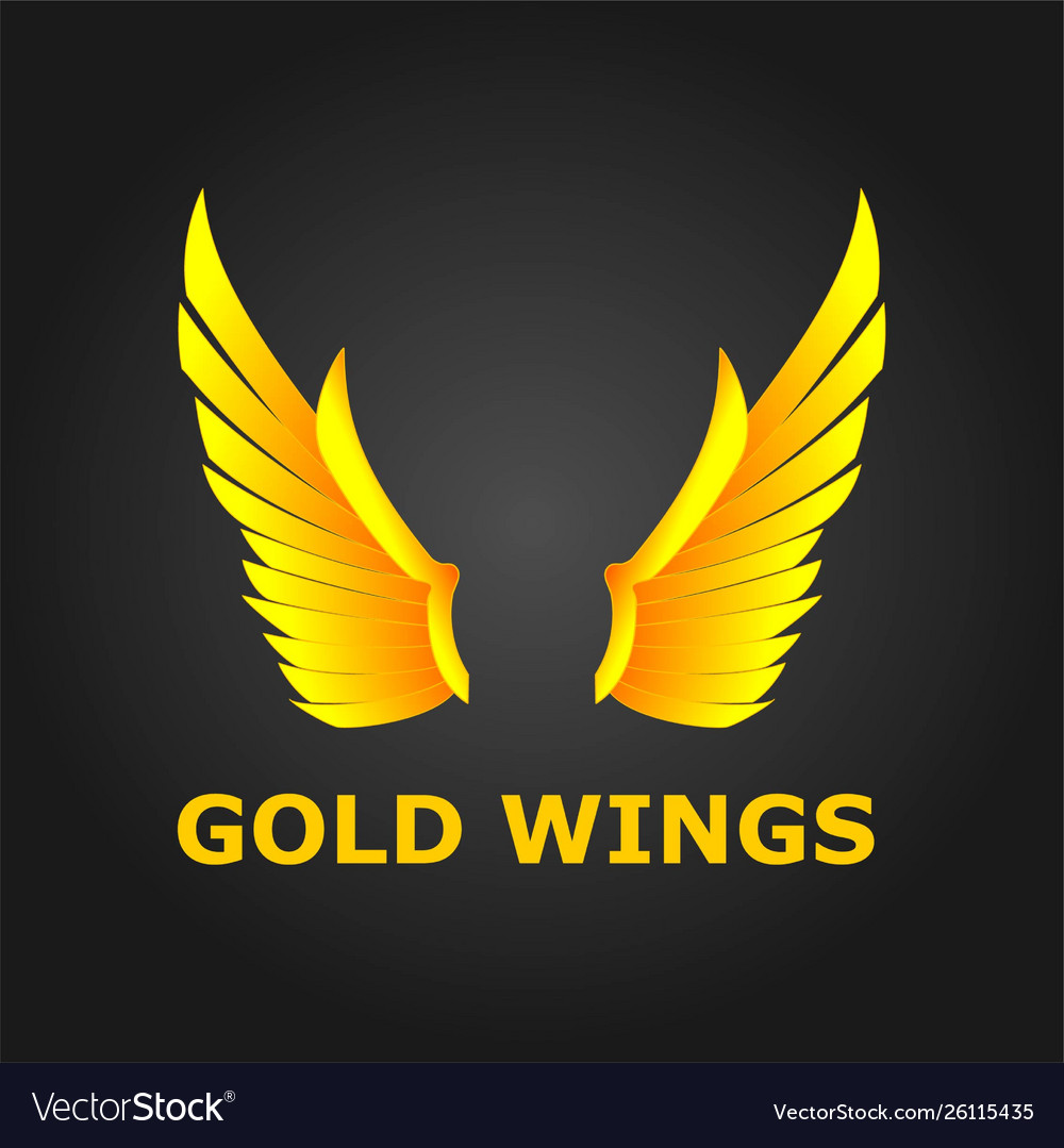 Gold wings beautiful design with modern concept