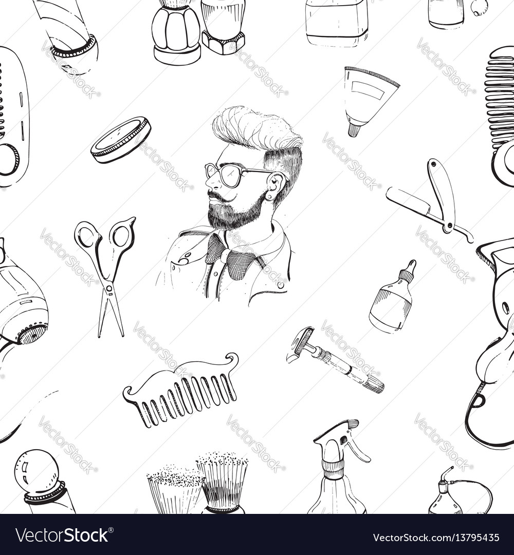 Hand drawn barbershop seamless pattern with