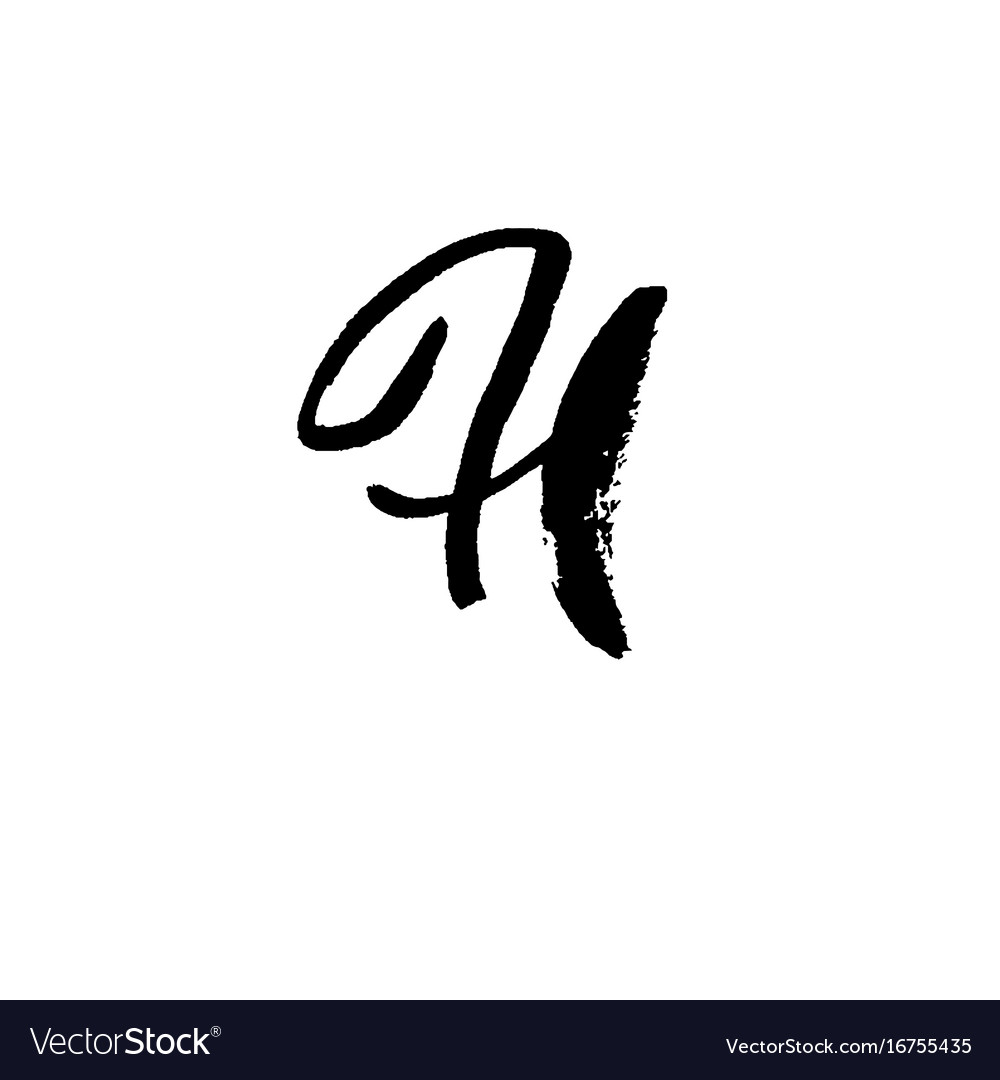 Letter h handwritten by dry brush rough strokes vector image
