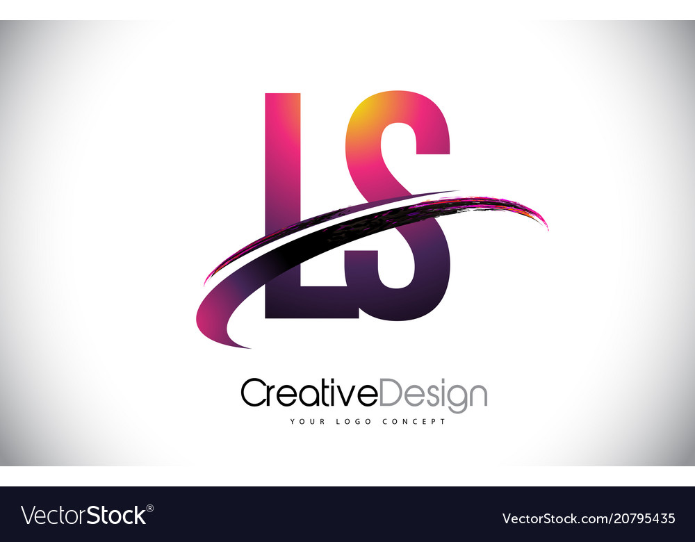 Ls l s purple letter logo with swoosh design