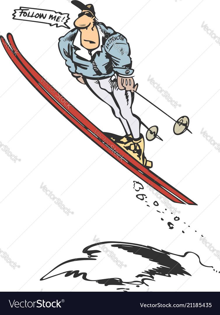 Man skier jump cartoon