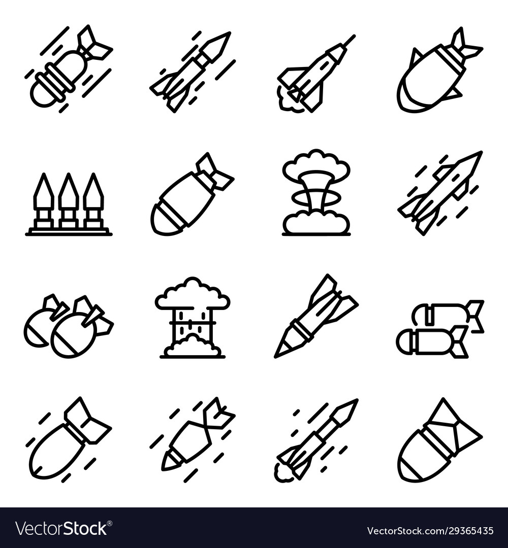 Missile attack icons set outline style