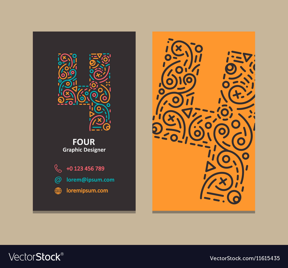 Number 4 Logo Business card