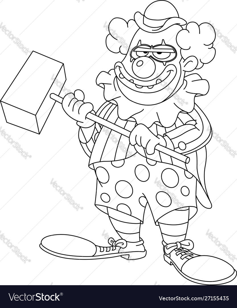 Outlined evil scary clown