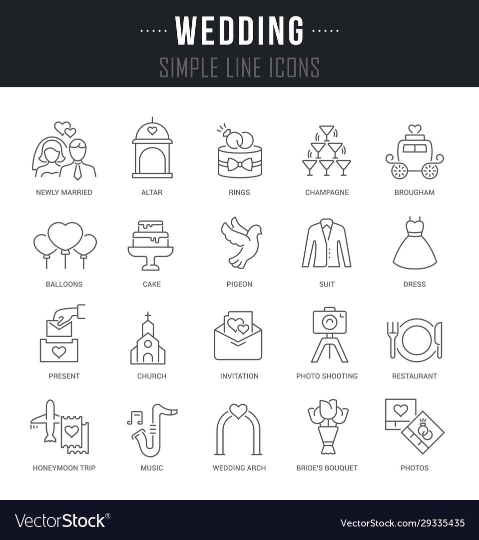 Set linear icons wedding